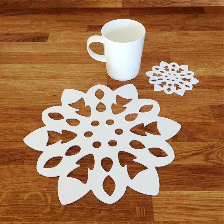 Snowflake Shaped Placemat and Coaster Set - White