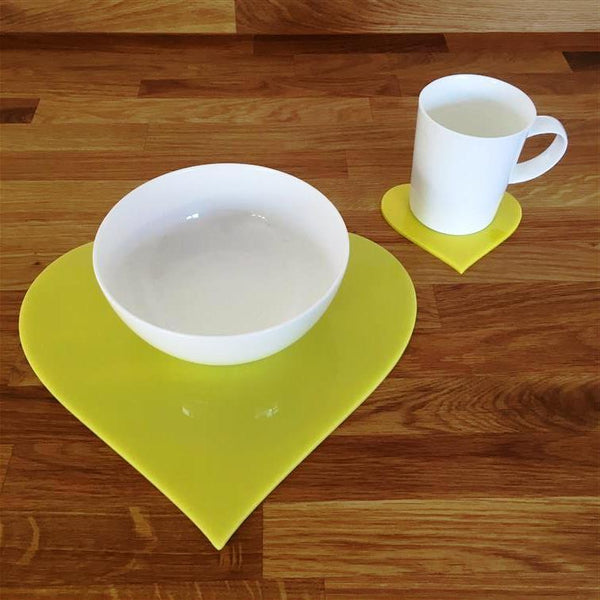 Heart Shaped Placemat and Coaster Set - Yellow