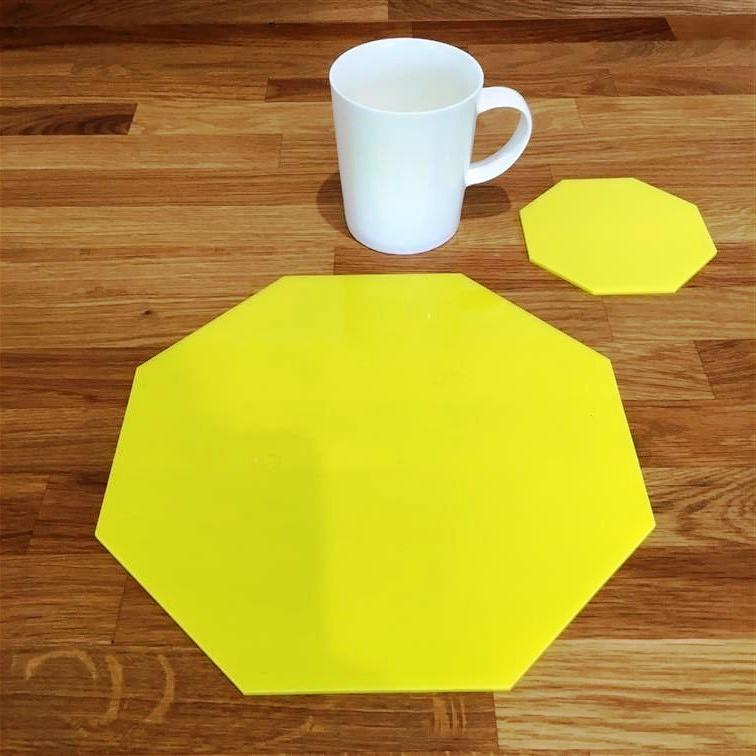 Octagonal Placemat and Coaster Set - Yellow