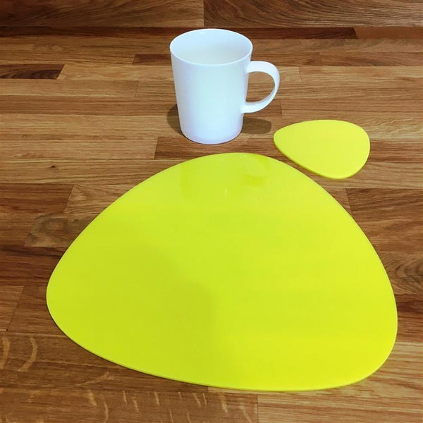 Pebble Shaped Placemat and Coaster Set - Yellow