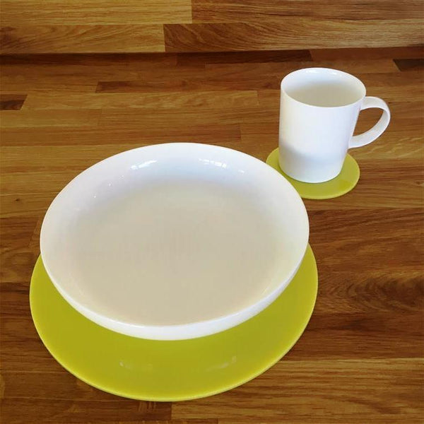 Round Placemat and Coaster Set - Yellow