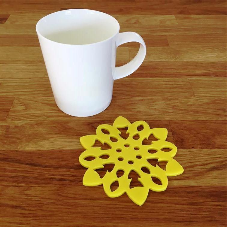 Snowflake Shaped Coaster Set - Yellow