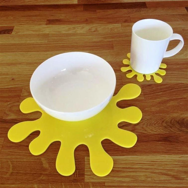 Splash Shaped Placemat and Coaster Set - Yellow