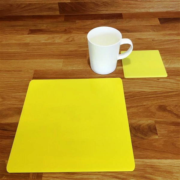 Square Placemat and Coaster Set - Yellow