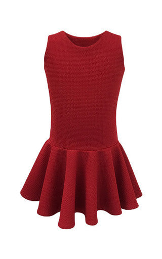 Helena and Harry Girl's Red Flippy Knit Pique Dress