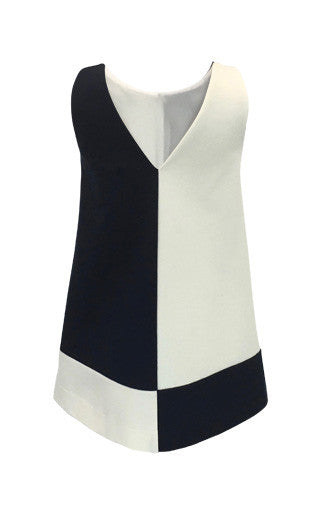 Helena and Harry Girl's Navy Color Blocked Knit Dress