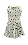 Helena and Harry Girl's White with Black Dots and Ruffles Dress
