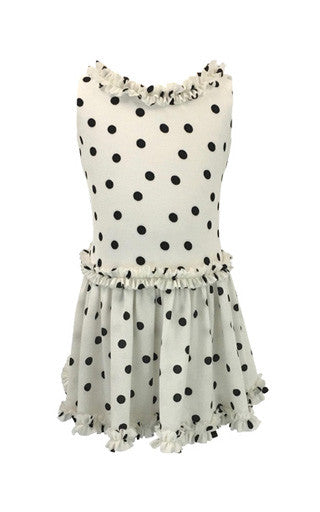 0cd9095f48faf Helena and Harry Girl s White with Black Dots and Ruffles Dress