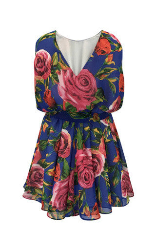 Helena and Harry Girl's Roses on Royal Georgette Dress