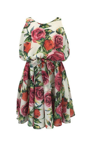 Helena and Harry Girl's Roses on Ivory Georgette Dress