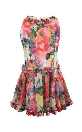 Helena and Harry Girl's Bright Pink Floral Linen Print Dress