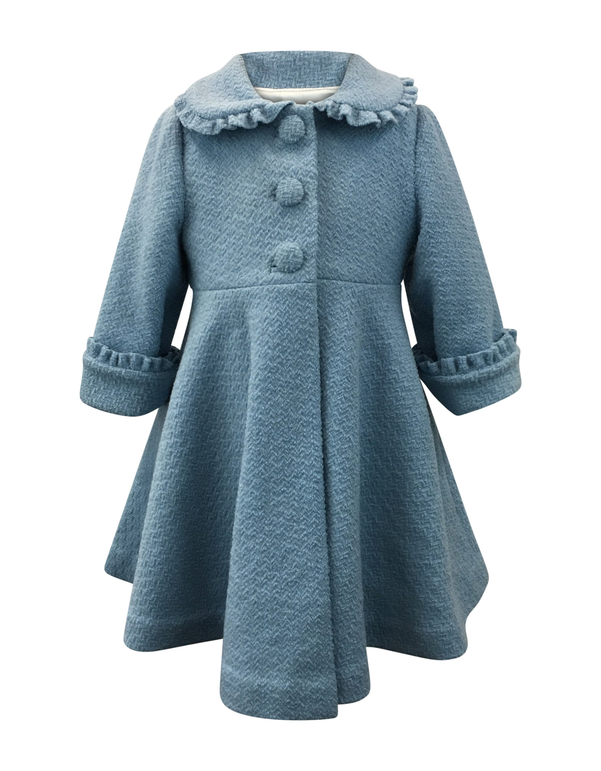 Helena and Harry Girl's Blue Boucle Coat with Ruffles