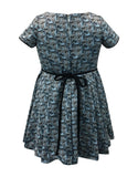 Helena and Harry Girl's Blue and Black Printed Dress