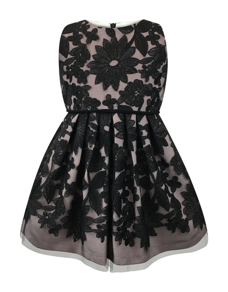 Helena and Harry Girl's Pink Dress with Black Lace