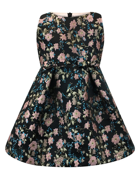 Helena and Harry Girl's Turquoise and Fuchsia Border Print Swing Dress