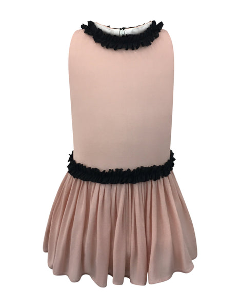 Helena and Harry Girl's Pink Georgette Dress with Black Ruffles
