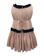 Helena and Harry Girl's Pink Georgette with Black Ruffles Dress