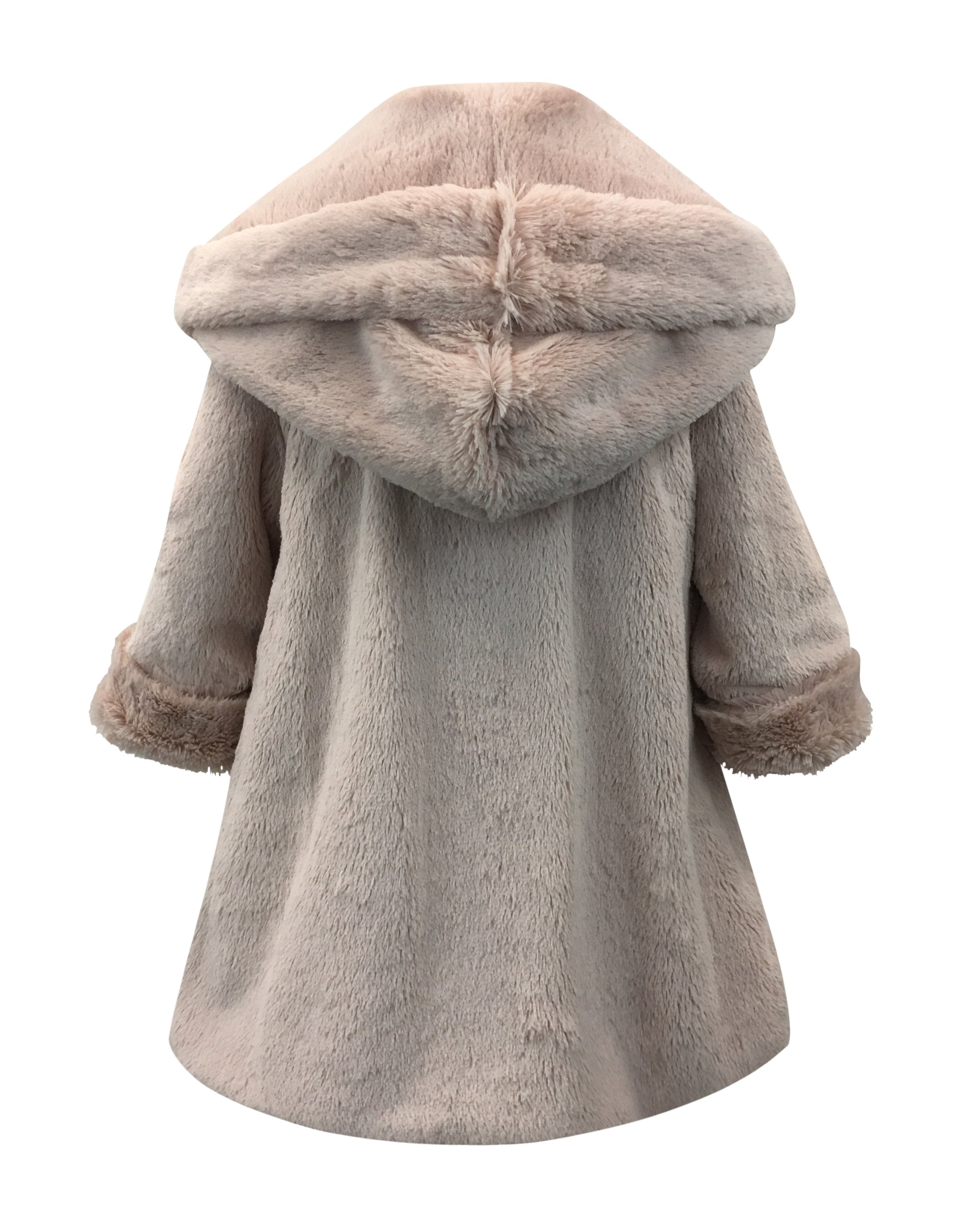Helena and Harry Girl's Pink Hooded Fur-Lined Reversible Coat