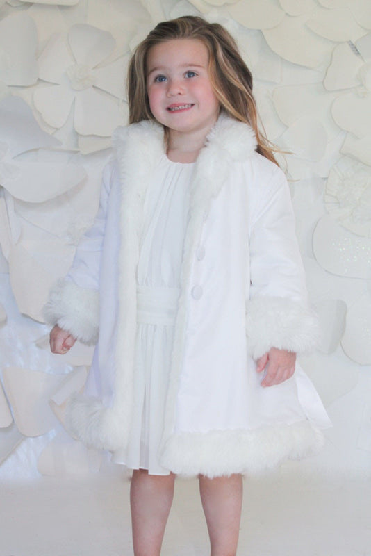 Helena and Harry Girl's White Reversible Faux Fur Lined Trench Coat