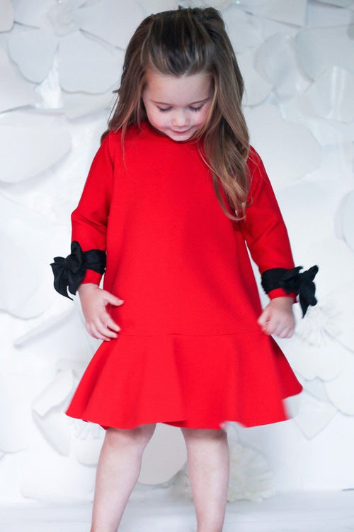 Helena and Harry Girl's Red Crepe Long Sleeve Float with Wrist Bows