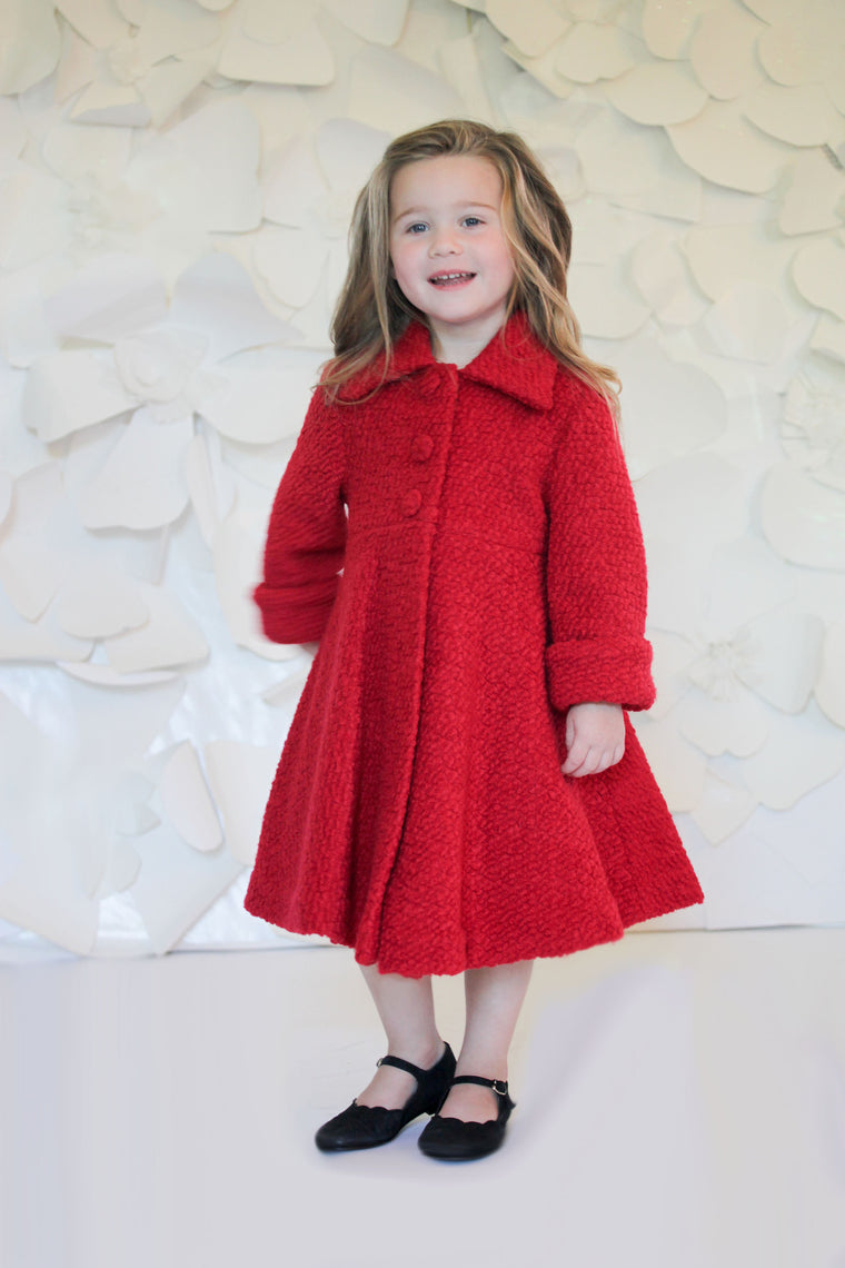 Helena and Harry Girl's Red Boucle Coat