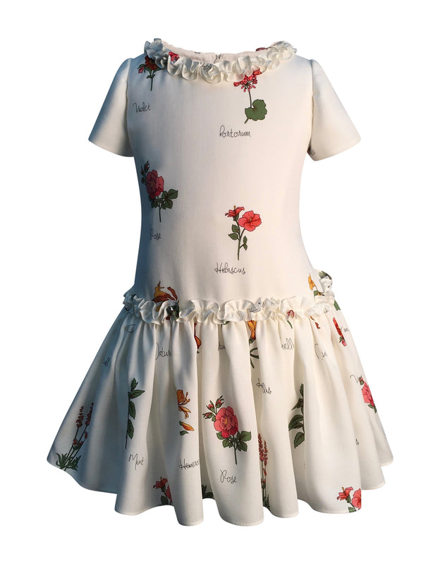 Helena and Harry Girl's Botanical Print Ruffle Dress