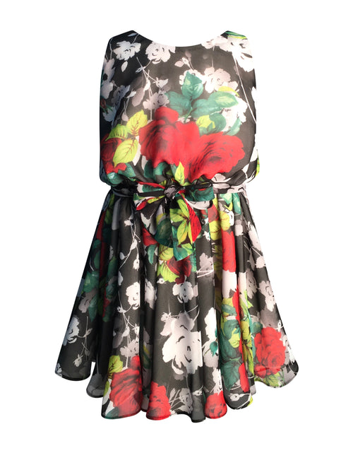 Helena and Harry Girl's Roses Printed Chiffon Dress