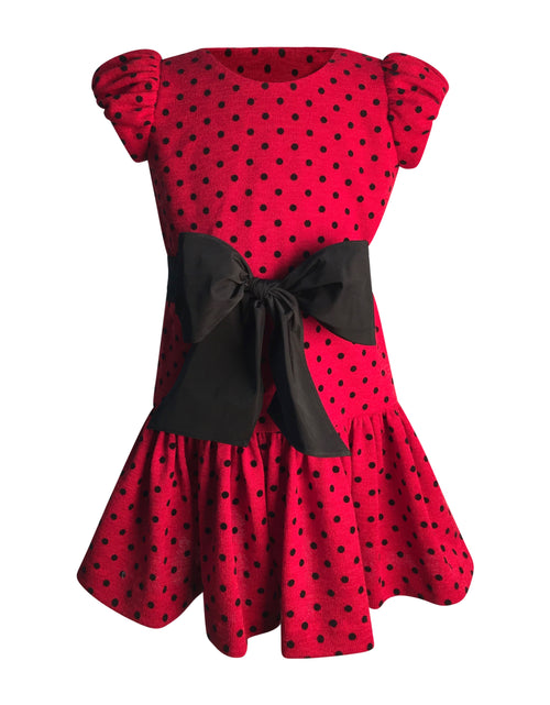 Helena and Harry Girl's Red / Black Dot Dress with Black Bow