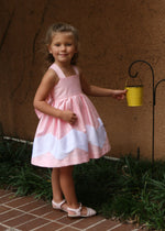 Helena and Harry Girl's Pink and White Chevron Sundress