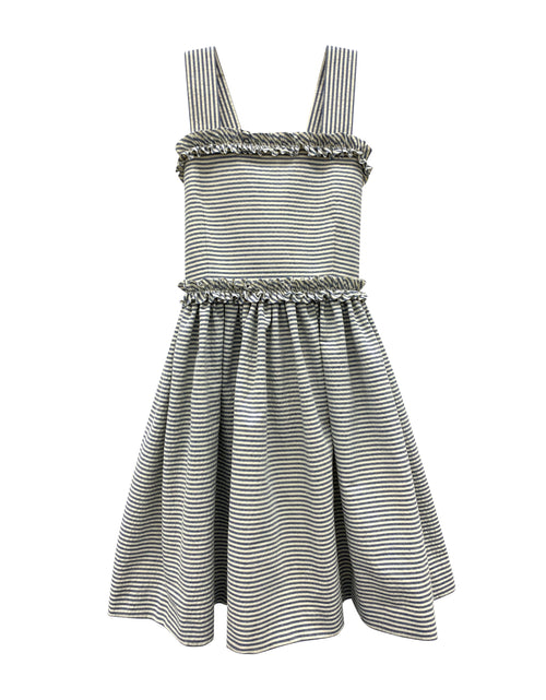 Helena and Harry Girl's White with Navy Wavy Stripe Sundress