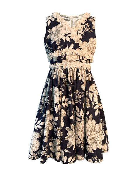 Helena and Harry Girl's Navy and White Floral Print Dress with White Ruffles