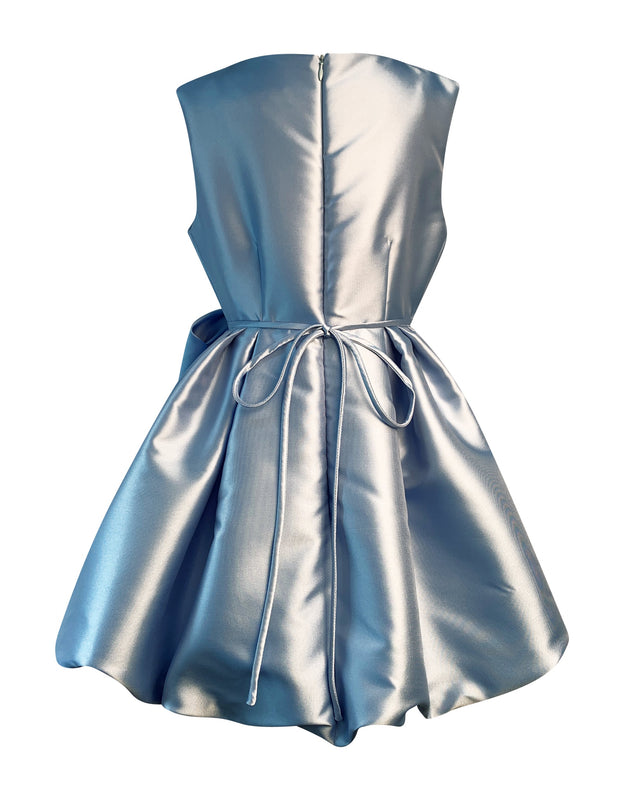 Helena and Harry Girl's Solid Blue Satin Dress with Bow