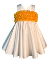 Helena and Harry Girl's White Sundress with Bright Yellow Ruffles
