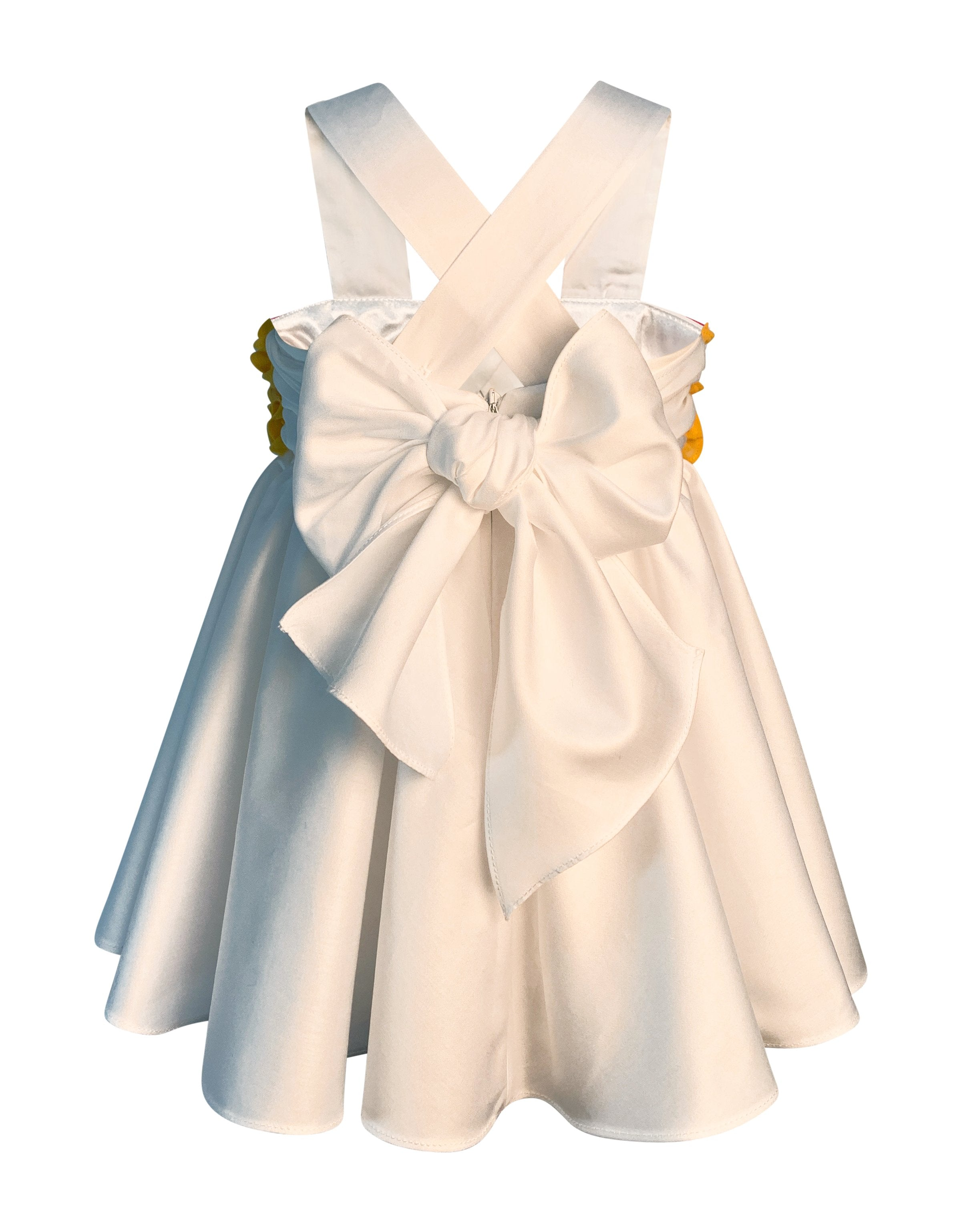 Helena and Harry Girl's White Cotton Sateen Sundress with Bright Yellow Ruffles