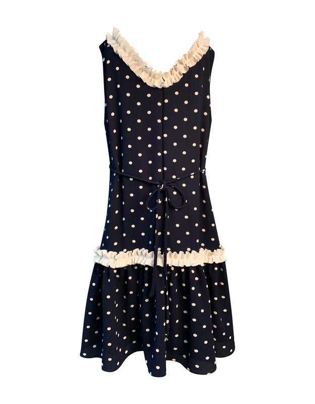 Helena and Harry Girl's Navy with White Dots and Ruffle Dress