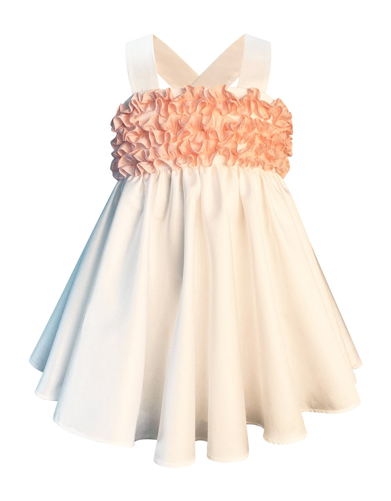 Helena and Harry Girl's White Cotton Sateen Sundress with Blush Pink Ruffles
