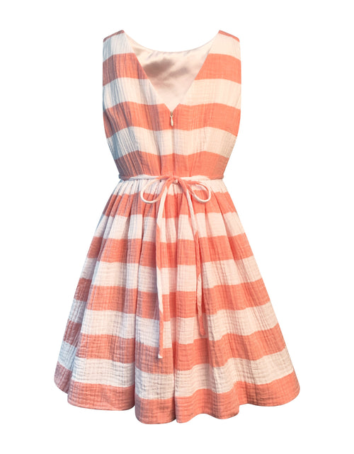 Helena and Harry Girl's Coral and White Horizontal Stripe Dress