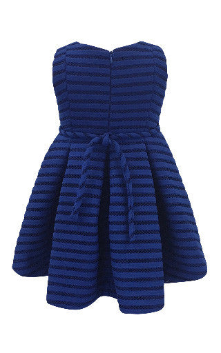 Helena and Harry Girl's Royal Shadow Striped Scuba Knit Dress