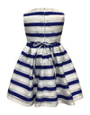 Helena and Harry Girl's Royal and White Horizontal Striped Organza Dress