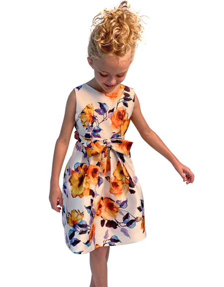 Helena and Harry Girl's Printed Chiffon with Ruffles Dress