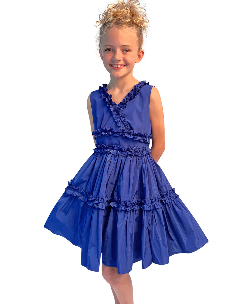 Helena and Harry Girl's Blue Taffeta Dress