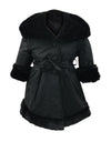 Helena and Harry Girl's Black Hooded Fur-Lined Reversible Coat
