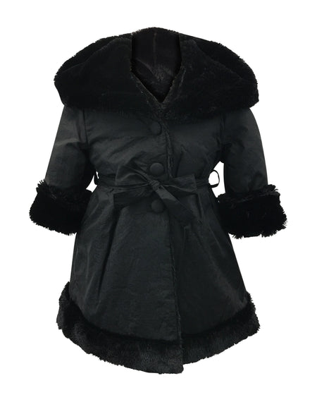 Helena and Harry Girl's Navy Hooded, Black Faux Fur-Lined Reversible Coat