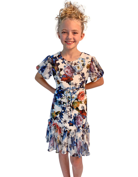 Helena and Harry Girl's Printed Knit with Printed Chiffon  Dress