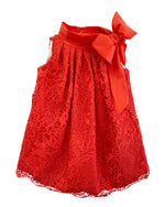 Helena and Harry Girl's Bow on Red Lace and Taffeta Dress