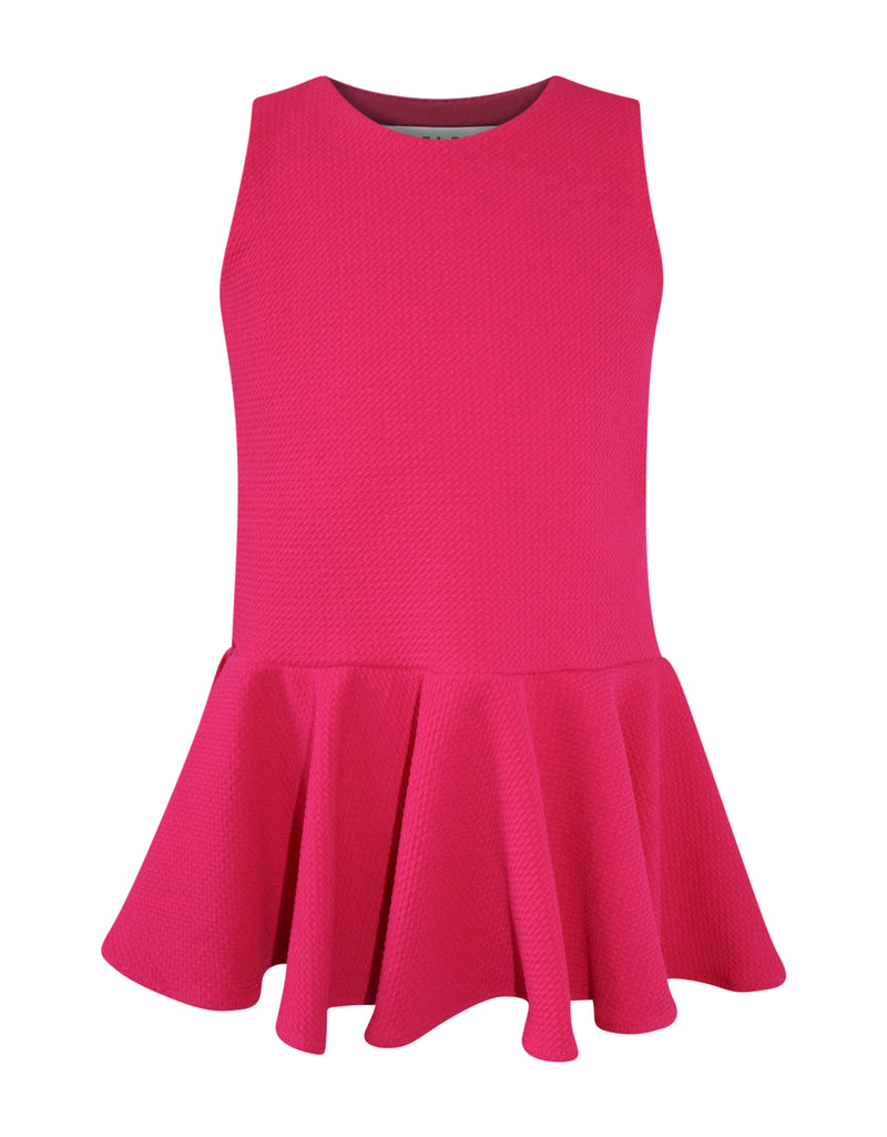 Helena and Harry Girl's Fuchsia Flippy Knit Pique Dress