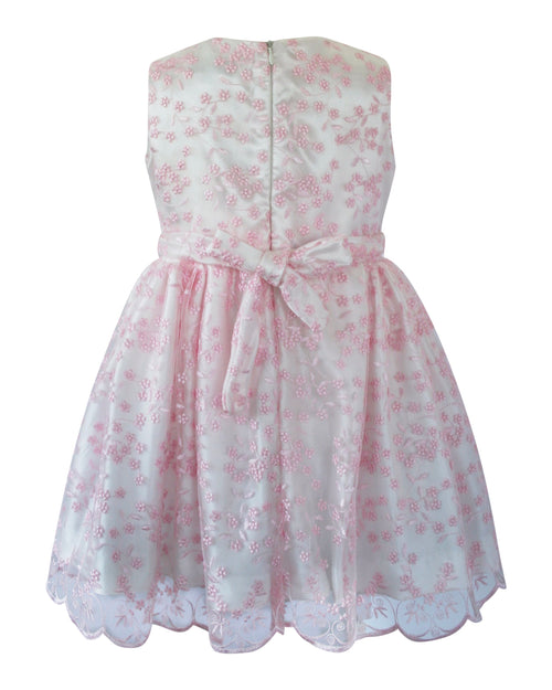 Helena and Harry Girl's Pink Lace Side Bow Dress