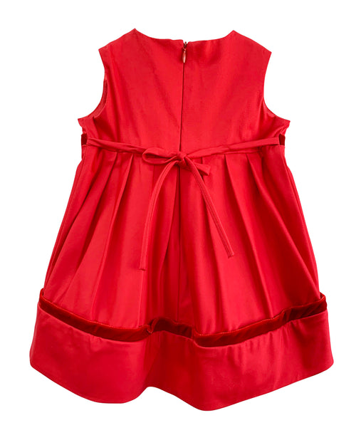 Helena and Harry Girl's Red Sateen with Velvet Trim Dress