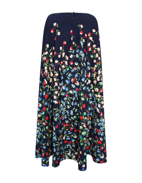 Helena and Harry Girl's Navy Border Print Swing Dress