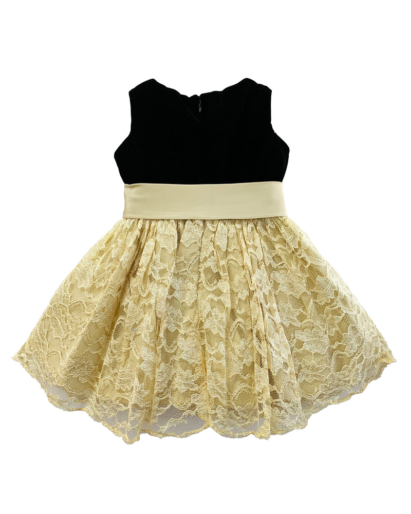 Helena and Harry Girl's Gold Lace and Black Velvet Dress
